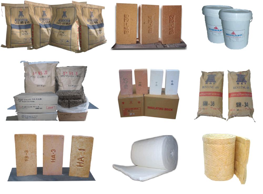 Bata Tahan Api-Semen Tahan Api-Castable-Ceramic Fiber Blanket-rockwool-Air Setting Mortar